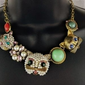 NWT Betsey Johnson Cat Kitty Statement Necklace